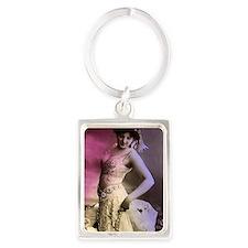 Lunagirl vintage bellydance pink Portrait Keychain