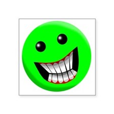 "green smile Square Sticker 3"" x 3"""