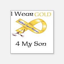 "I wear Gold 4 - MY SON-1 Square Sticker 3"" x 3"""