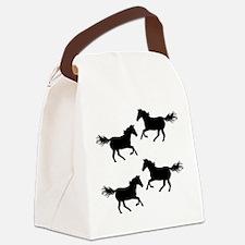Black Wild Horses Canvas Lunch Bag