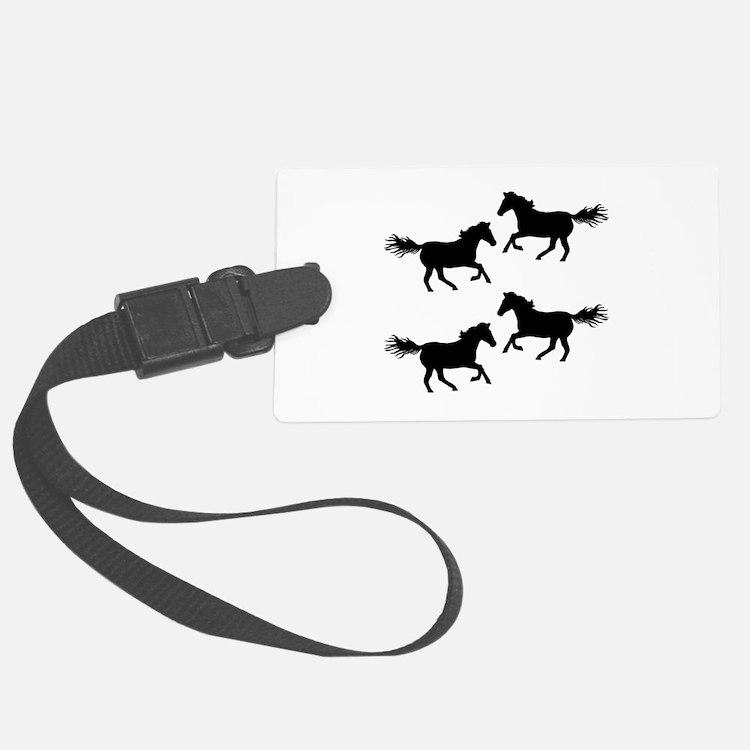 Black Wild Horses Luggage Tag