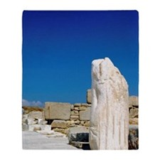 Delos. Marble statues along the Sacr Throw Blanket
