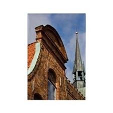 Lubeck. Old Town Buildings on Fle Rectangle Magnet