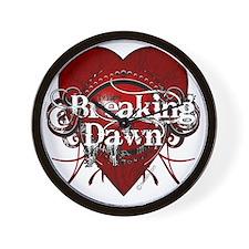breaking dawn mystic red heart by twiba Wall Clock