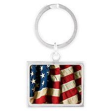 us_flag_03 Landscape Keychain