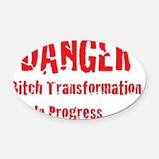 Danger Bitch Oval Car Magnet