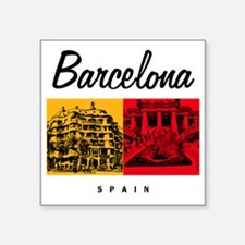 "Barcelona_7x7_Bag_CasaMila_ Square Sticker 3"" x 3"""