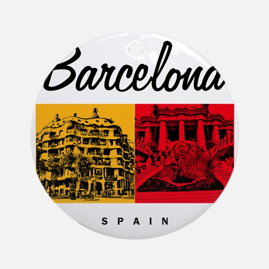 Barcelona_7x7_Bag_CasaMila_ParcGuel Round Ornament