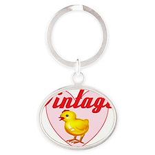 vintage chick  big Oval Keychain