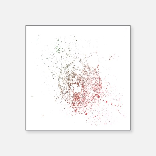 "Insanity wolf rainbow splat Square Sticker 3"" x 3"""