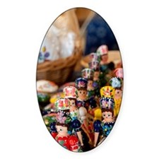 Wooden dolls in traditional costume Decal