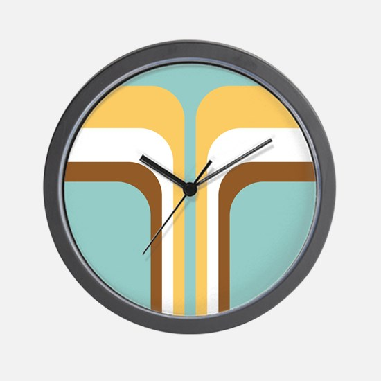 Retro Geometric Blue Wall Clock