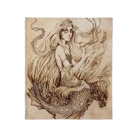 Seafloor Mermaid_Cafepress Throw Blanket