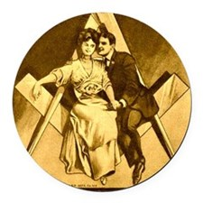 Freemason Love on the Square Round Car Magnet