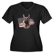 usa3 Women's Plus Size Dark V-Neck T-Shirt