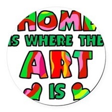 home where art is Round Car Magnet