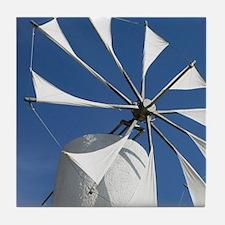 Ano Kera: Traditional Cretan Windmill Tile Coaster