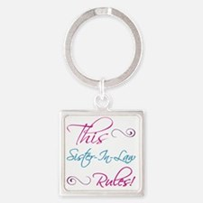 RulesSisterInLaw Square Keychain