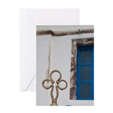 Greece, Santorini. Gates on the Grec Greeting Card