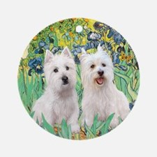 TILE-Irises-2 Westies Round Ornament