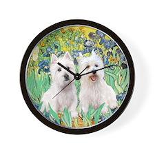 TILE-Irises-2 Westies Wall Clock