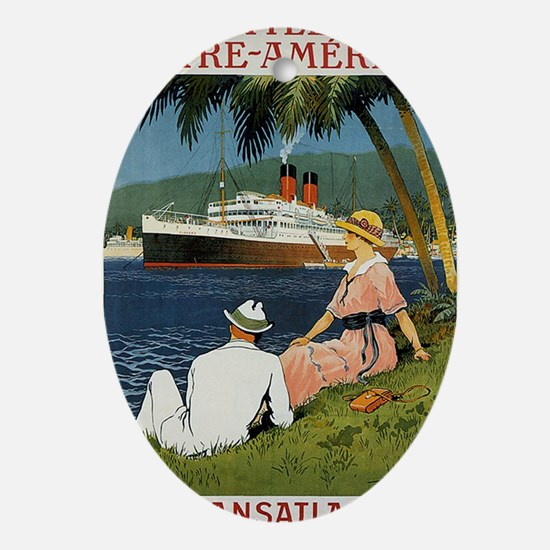 Transatlantique poster Oval Ornament