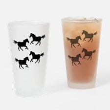 Black Wild Horses Drinking Glass