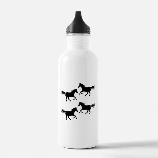 Black Wild Horses Water Bottle