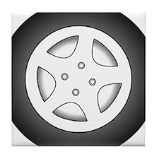Car Tire and Rim Tile Coaster