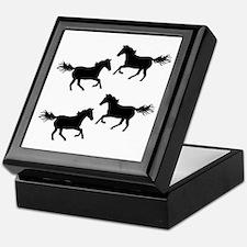 Black Wild Horses Keepsake Box