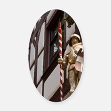 Statue of knight and dragonremberg Oval Car Magnet