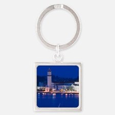 Dawn View over port with Church of Square Keychain