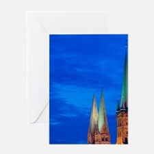 Lubeck. Petrikirche and Marienkirche Greeting Card