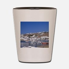 Greece, Mykonos. Fishing boats in the h Shot Glass