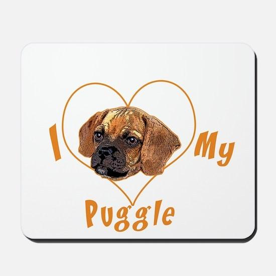 I love my puggle (orange) Mousepad
