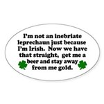 Inebriate Leprechaun Irish Oval Sticker
