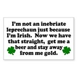 Inebriate Leprechaun Irish Rectangle Sticker