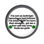 Inebriate Leprechaun Irish Wall Clock