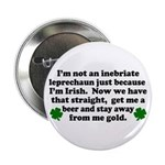 Inebriate Leprechaun Irish Button