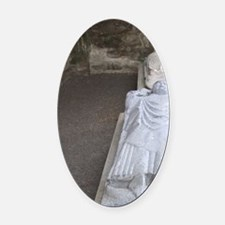 Medieval stone carving on a tomb a Oval Car Magnet