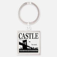 Castle_BrooklynBridge_lite Square Keychain