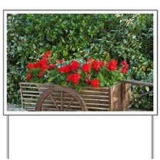 Tuscany. Red geraniums spill out of an o Yard Sign