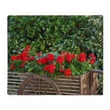Tuscany. Red geraniums spill out of  Throw Blanket