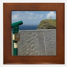 Green telescope at the Cliffs of Moher Framed Tile