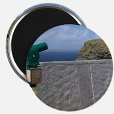 Green telescope at the Cliffs of Moher with Magnet