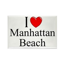 """I Love Manhattan Beach"" Rectangle Magnet"