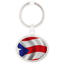 puerto_rico_flag Oval Keychain