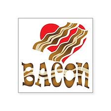 """I Love Bacon White Square Sticker 3"""" x 3"""""""