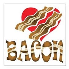 "I Love Bacon White Square Car Magnet 3"" x 3"""