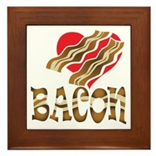 I Love Bacon White Framed Tile